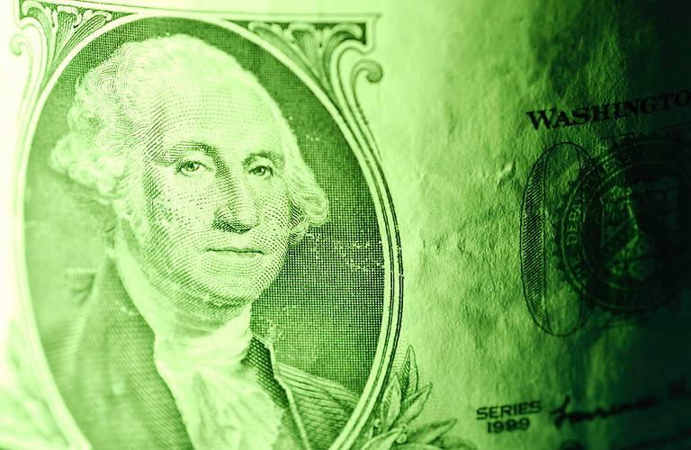 Portrait of George Washington on the American One Dollar Bill
